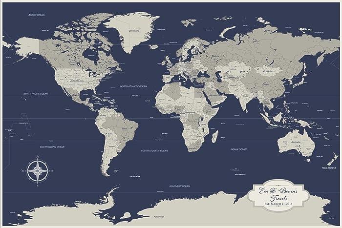 Amazon personalized cotton anniversary push pin world map personalized cotton anniversary push pin world map world travel map with pins 24 x 36 gumiabroncs Choice Image