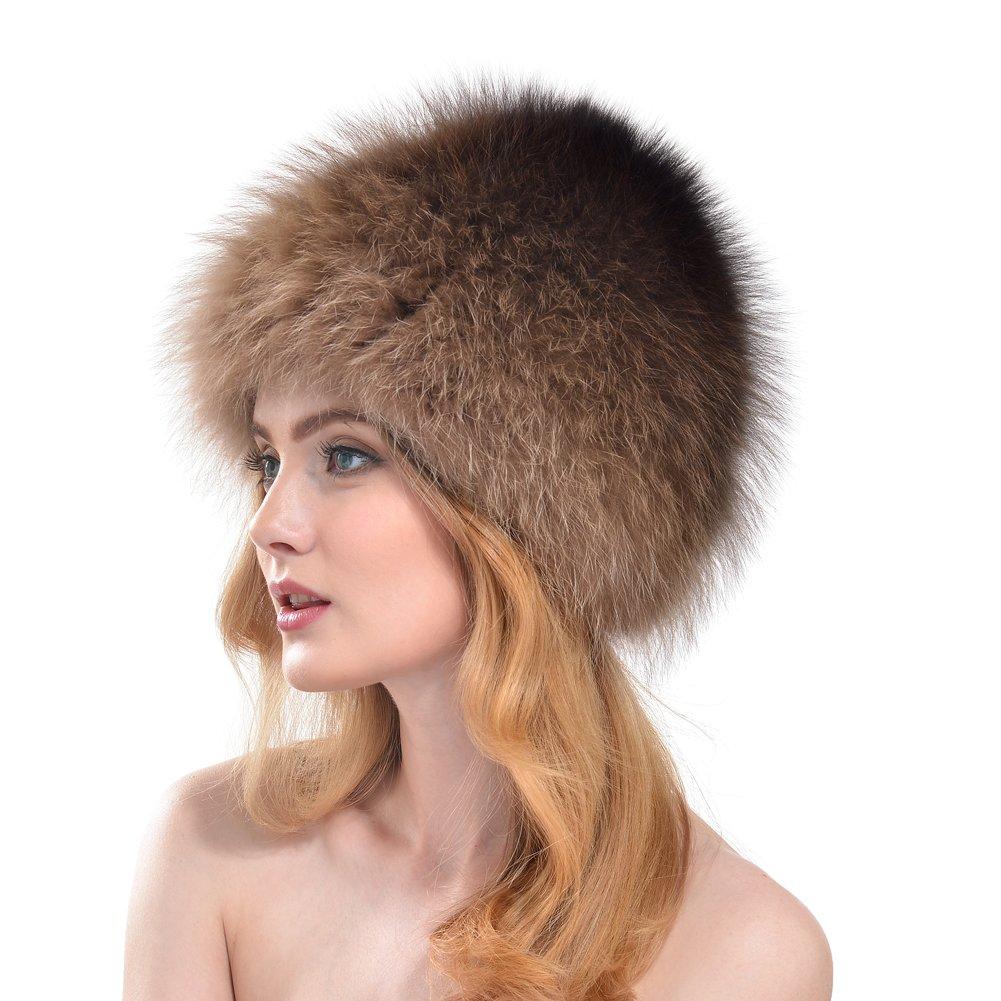 BeadChica Women Fox Fur Winter Hat- Luxurious Warm Skiing Hats Cap For Girls Winter Beanie (Khaki) by BeadChica (Image #2)