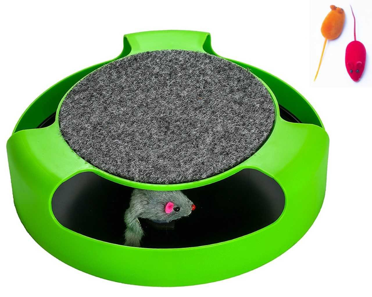 AroPaw Cat Interactive Toy - Cat Toy With Rotating Running Mouse And A Two In One Scratching Pad - Catch The Mouse - Catnip Toy Mouse (Catnip Not Included) - Quality Cat Toy For All Size Cats