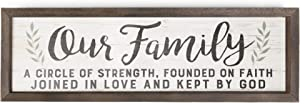 P. Graham Dunn Our Family Strength Faith Love 24.6 x 7.8 Inch Solid Pine Wood Farmhouse Frame Wall Plaque