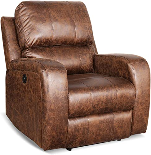 EBELLO Power Home Theater Seating Recliner with Headreast Handrest,Brown Microfiber
