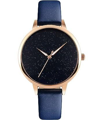 Armbanduhr damen schwarz  CIVO Damen Uhren Echtes Lederband Slim Uhr Frauen Kleid Mode 30M ...