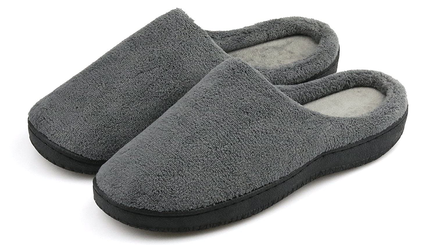 5d62eb019d9e Men s Slippers Memory Foam Warm Winter Slip on Daily Slippers Soft Fleece  House Slippers Indoor Outdoor Anti Skid Sole