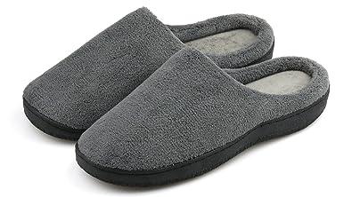 06817e16e924 Dasein Men s Slip On Warm Winter Slippers Memory Foam Soft Fleece House  Slippers Indoor Outdoor Anti
