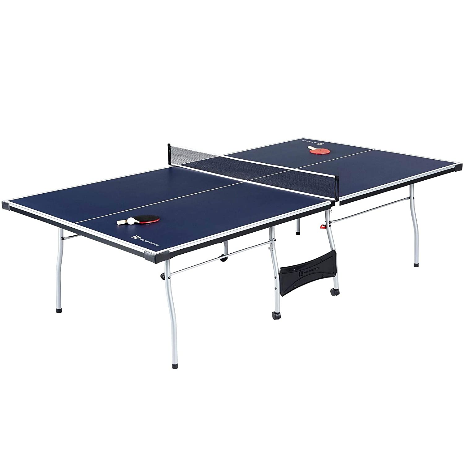 MD Sports Official Size Table Tennis Table with Paddle and Balls Blue//White