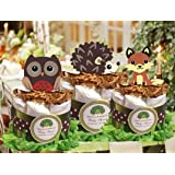 Forest Woodland Owl Hedgehog Fox Baby Shower Mini Diaper Cakes Centerpiece - Handmade By LMK Gifts
