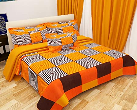Choice homes Cotton King Size Double Bedsheet with 2 Pillow Cover, 90x100 Inches, Multicolour