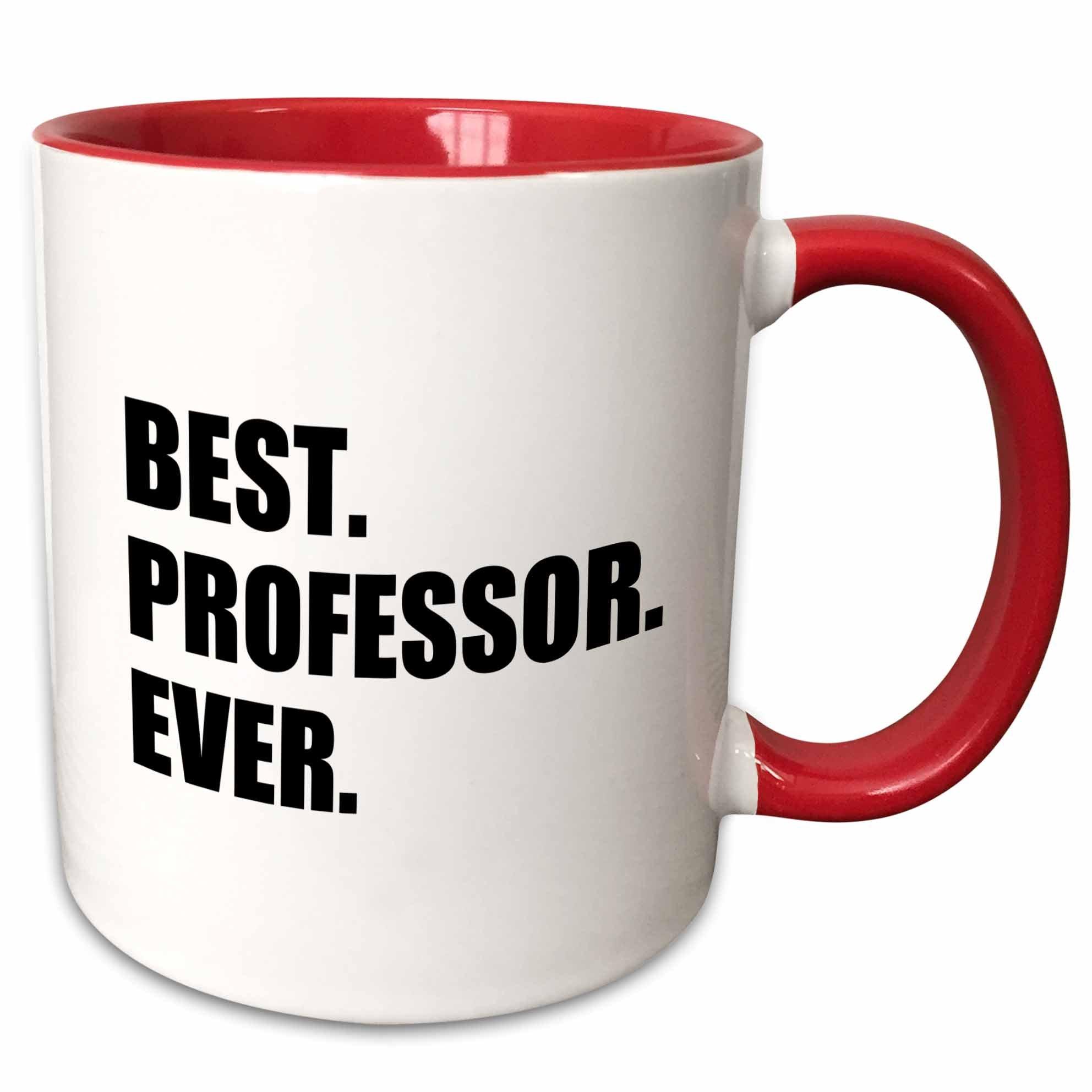 3dRose mug_185014_5 Best Professor Ever, gift for inspiring college university lecturers - Two Tone Red Mug, 11oz