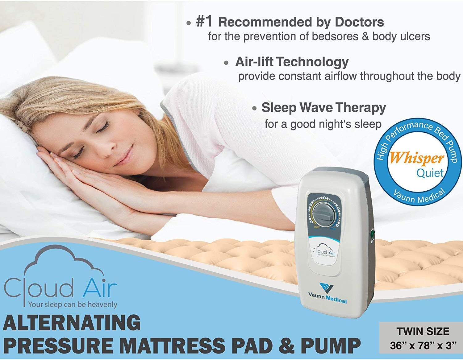 "Vaunn Medical Cloud Air Whisper Quiet Alternating Air Pressure Mattress Topper with Pump Twin Size 36"" x 78"" x 3"""