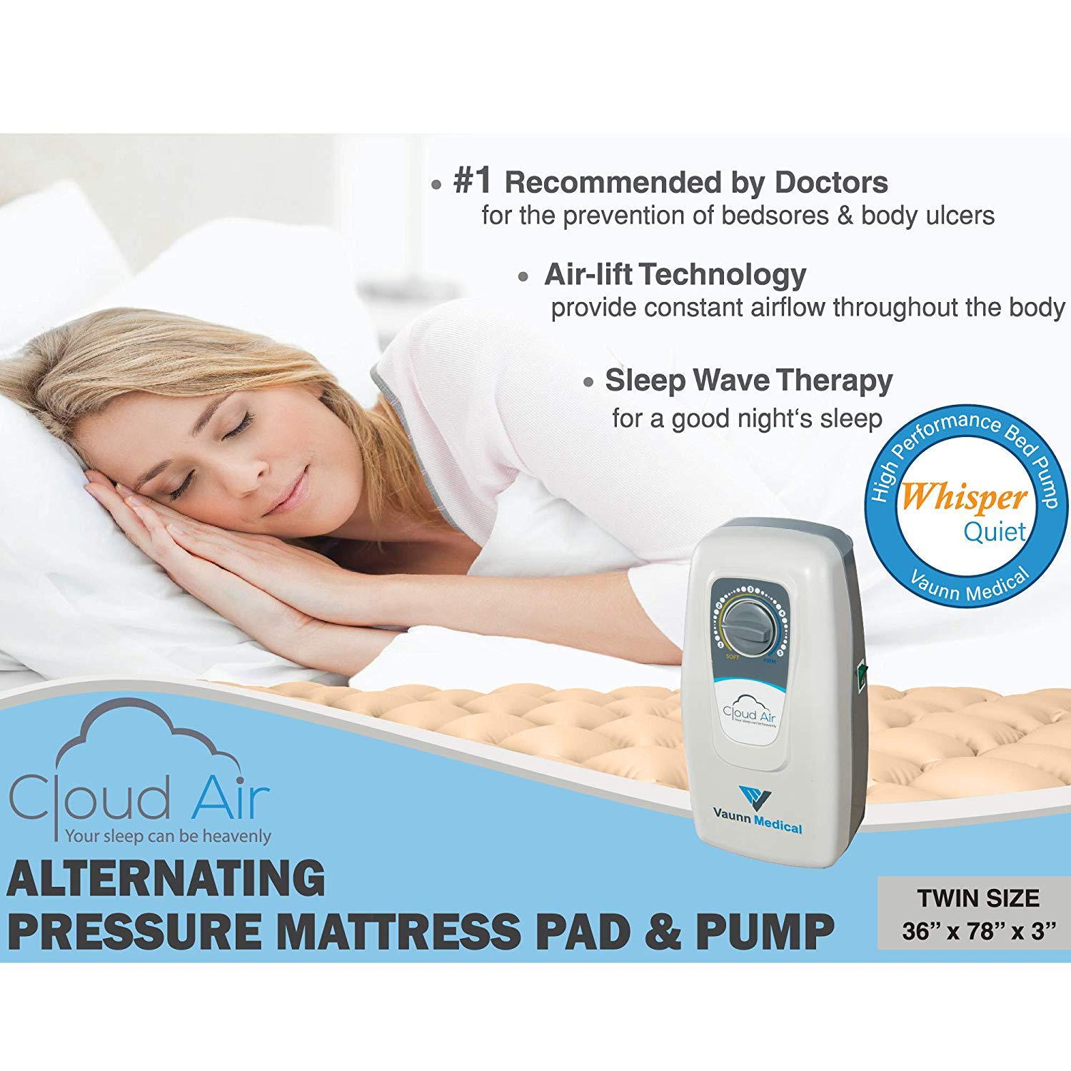 Vaunn Medical Cloud Air Whisper Quiet Alternating Air Pressure Mattress Topper with Pump Twin Size 36'' x 78'' x 3'' by Vaunn