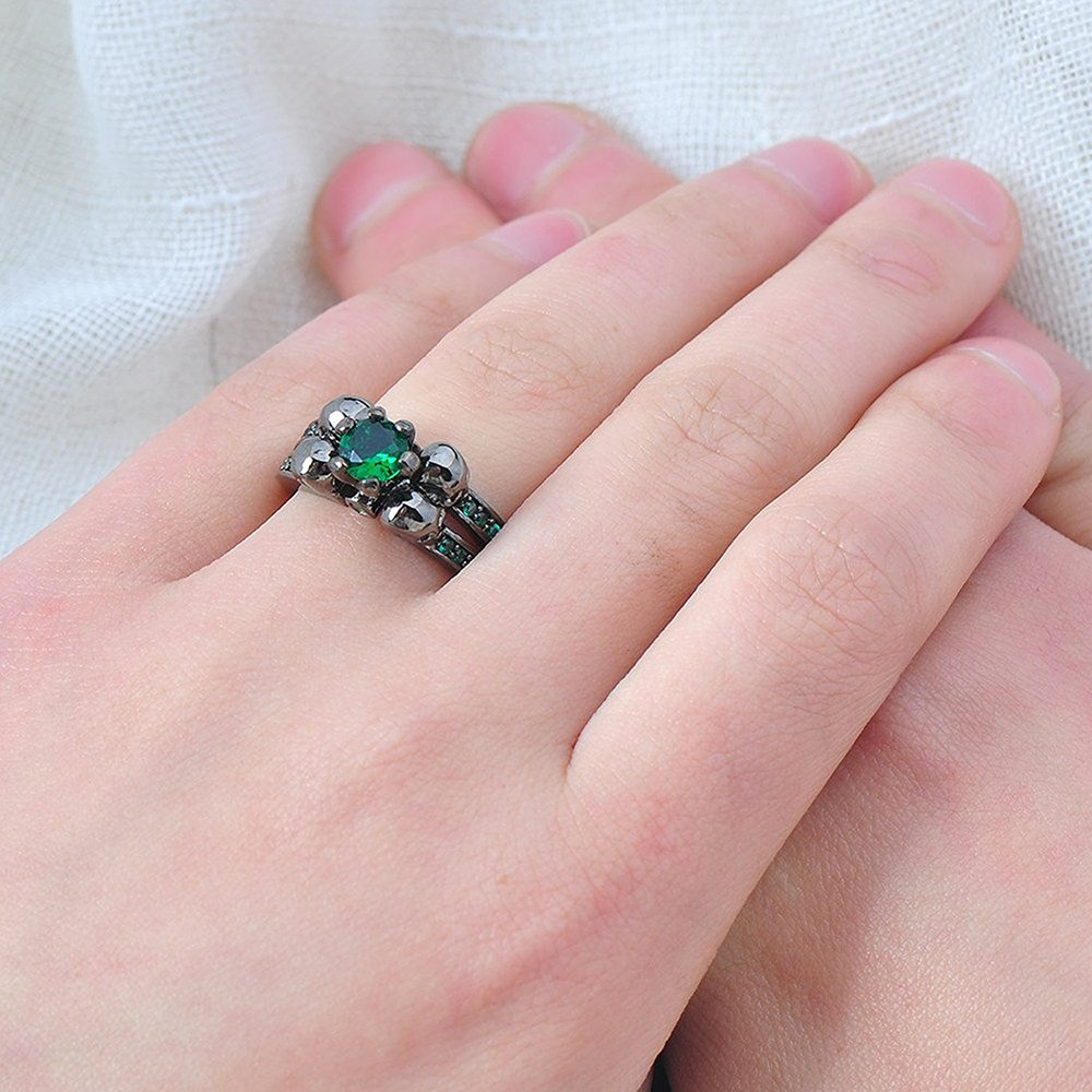 Amazon.com: LILILEO Jewelry Ruby Skulls Engagement Wedding Ring ...