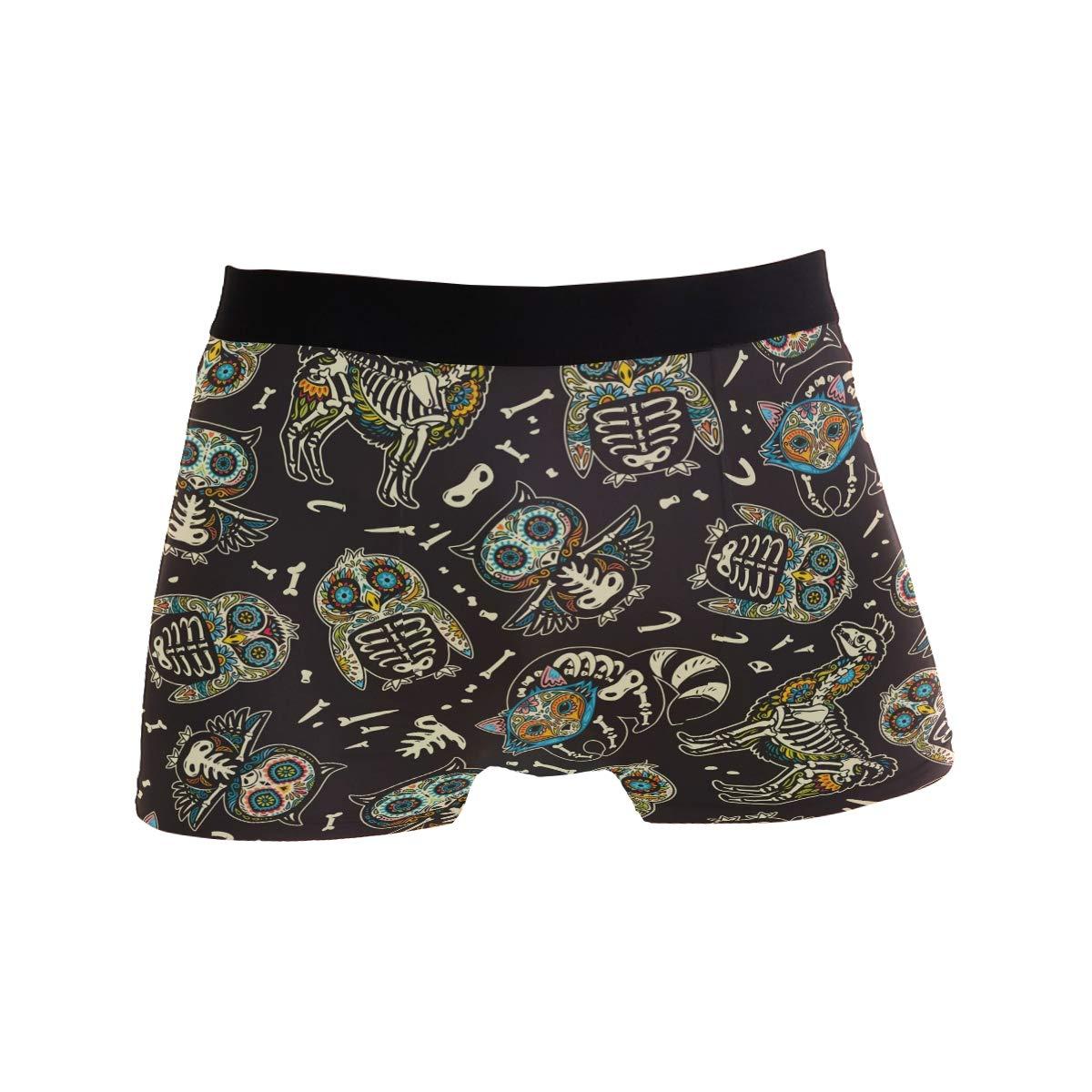ZZKKO Skull Owl Mens Boxer Briefs Underwear Breathable Stretch Boxer Trunk with Pouch S-XL