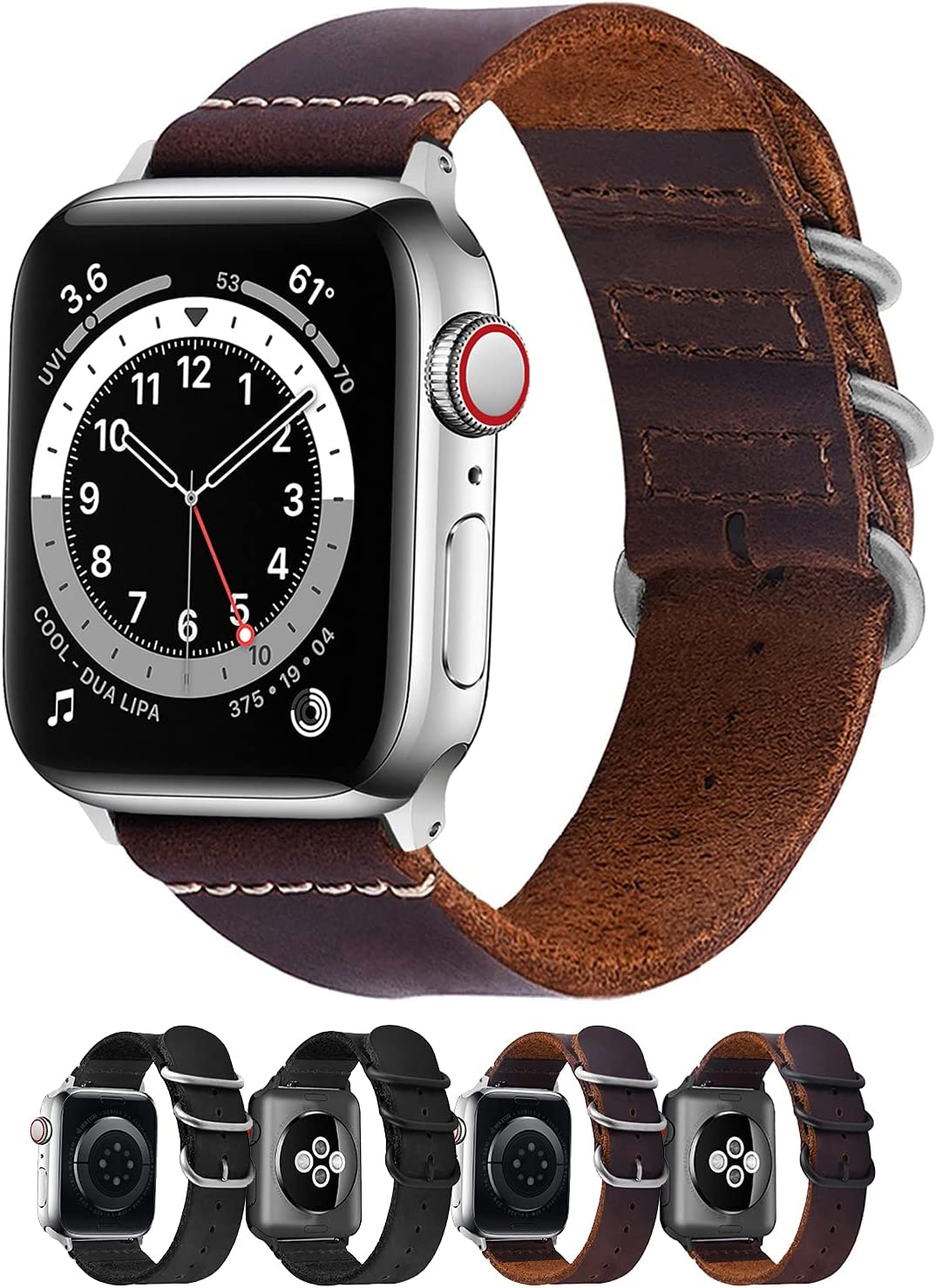Fullmosa Compatible Apple Watch Band 44mm 42mm 38mm 40mm, Leather Strap for iWatch SE & Series 6/5/4/3/2/1, Black + Silver Buckle, 44mm 42mm