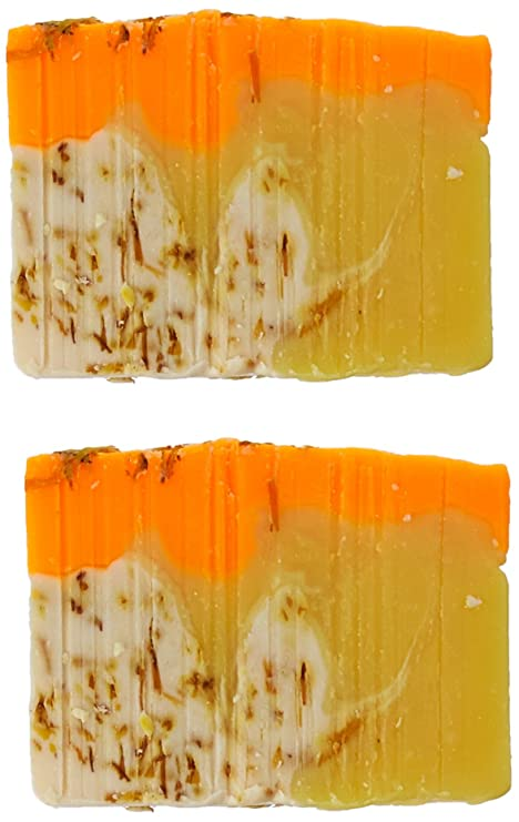 Orange Soap Bar with Calendula Oil - Handmade Organic with Essential Oils. Natural Moisturizing Body Soap for Skin and Face. With Shea Butter, Coconut Oil, ...