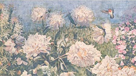 vintage flowers hydrangea hortensia daisies distressed floral wallpaper border retro design roll 15 x 6