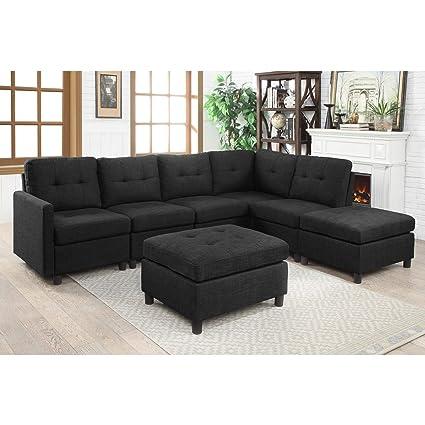 7 piece living room set microfiber couch bliss brands modular sectional fabric sofa sets assemble 7piece livingroom sofas bundle set cushion amazoncom