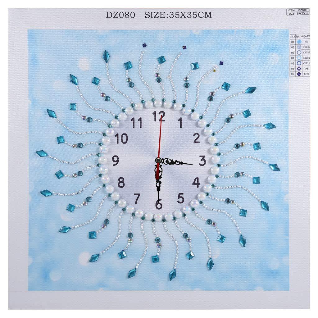 VRTUR 5D Especial Pintura Diamante Reloj de Pared AB Diamante Patrón geométrico Sala de Estar Tridimensional 35x35cm & 60x35cm: Amazon.es: Hogar