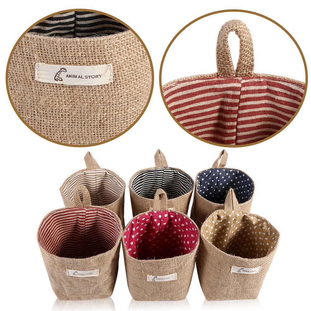2Pcs Cotton Linen Hamper Hanging Clothes Bag Home Gadget Storage Organizer Foldable Basket Bin Blue