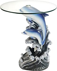 """OK Lighting Animal 24"""" H Glass Top Color Sculpture End Table - Dolphin"""