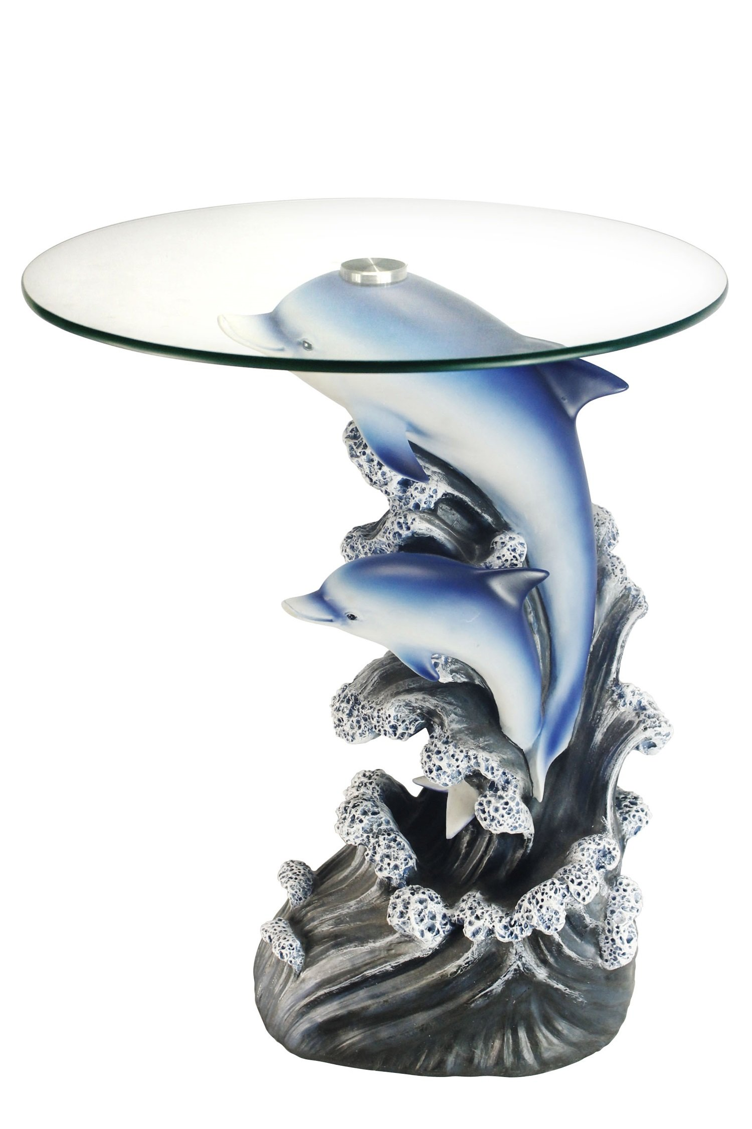 OK Lighting OK-0721N Animal Sculpture End Table 24'' H Glass Top Color Sculpture End Table - Dolphin