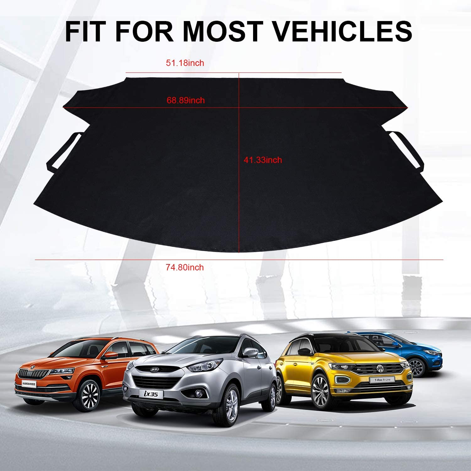 Gelibo Car Windshield Snow Cover,Heavy-Duty Durable Sun Shade Snow,Ice,Frost Protector Waterproof for Cars,Standard Pickup,SUV