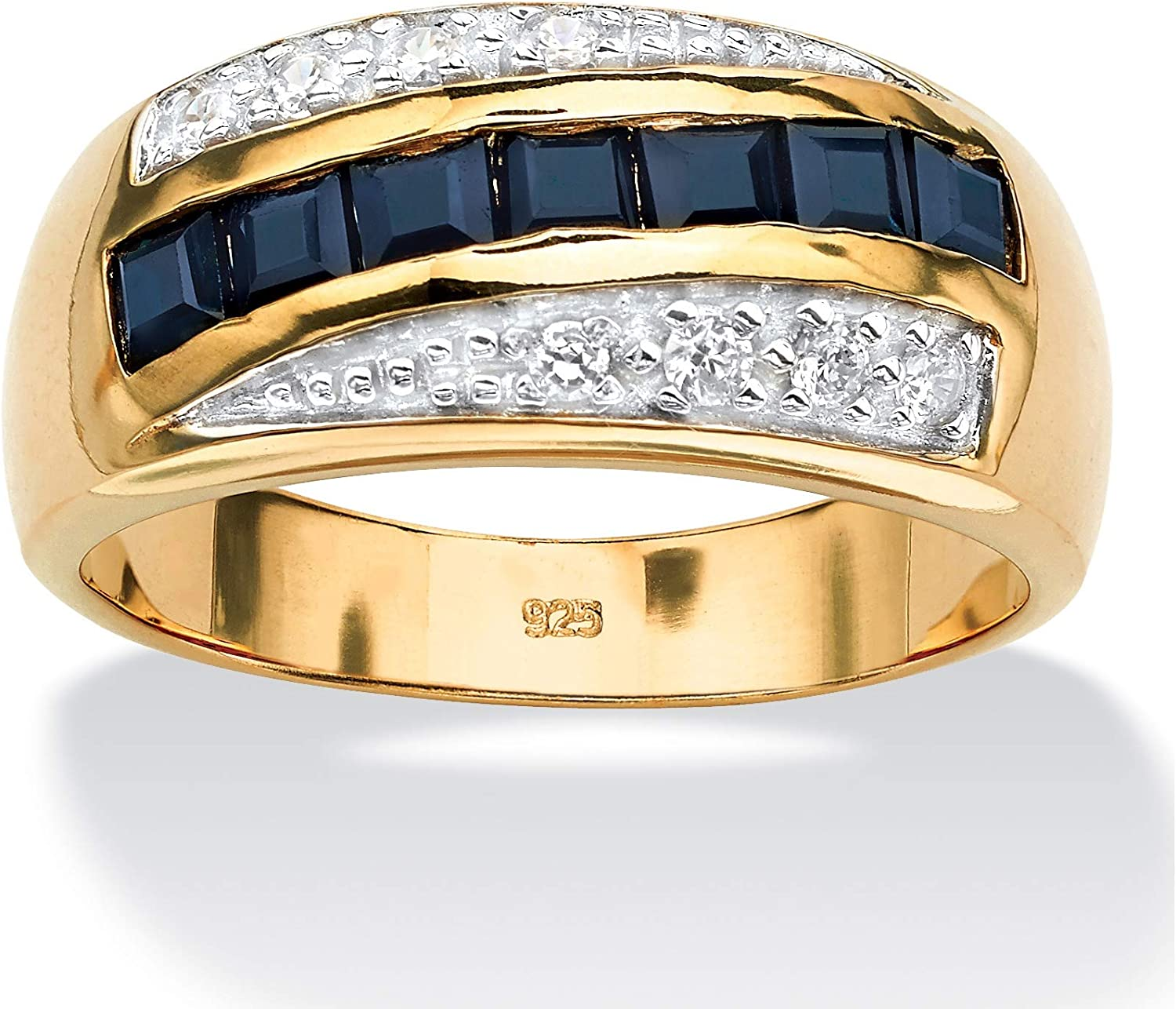 Men's 18K Yellow Gold over Sterling Silver Square Cut Genuine Blue Sapphire and Round Cubic Zirconia Ring