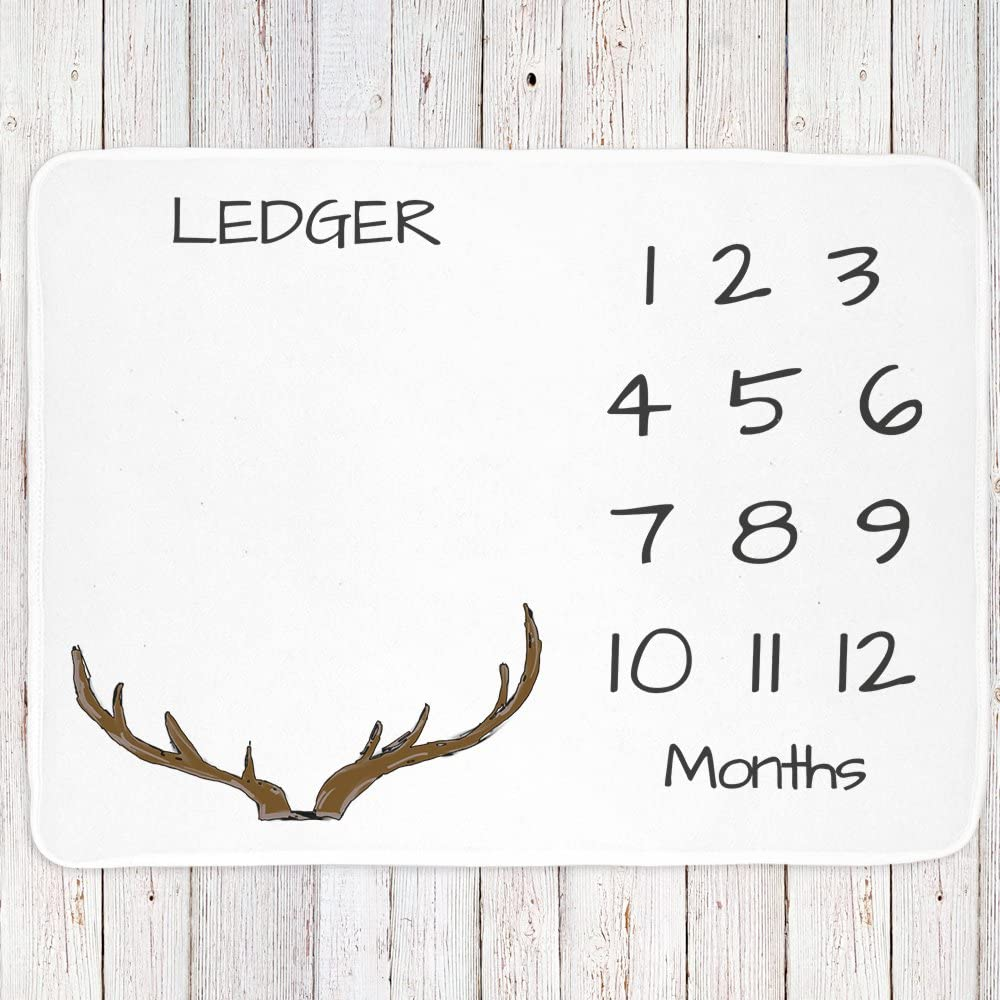 Lovable Gift Co Personalized Monthly Milestone Baby Blanket Boys or Unisex Antler Print White