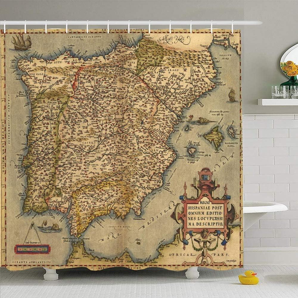 Hotyle Conjunto de Cortina de Ducha con Ganchos 120X180Cm Antiguo Portugal Tierra 1570 Mapa España Vintage por Carta Abraham Viejo Ortelius Texturas Europa Objetos: Amazon.es: Hogar