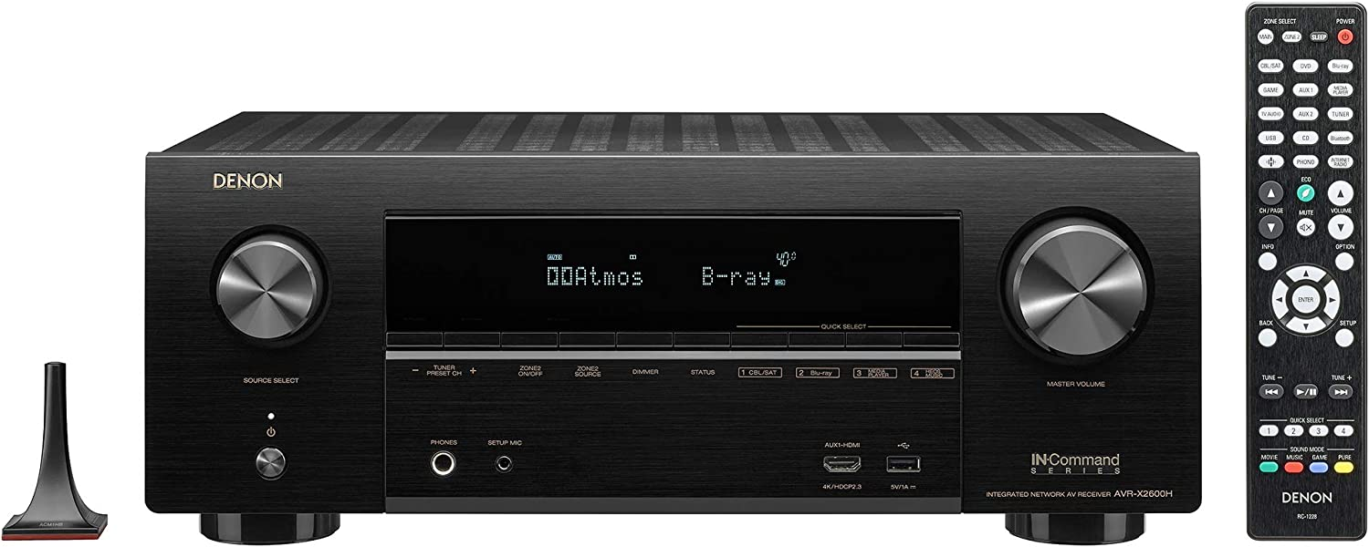 Denon AVR-X2600H 4K UHD AV Receiver | 2019 Model | 7.2 Channel, 95W Each | New Dolby Atmos Height Virtualization, Dual Subwoofer Outputs | 8 HDMI Inputs, 2 Outputs with eARC | AirPlay 2, Alexa & HEOS