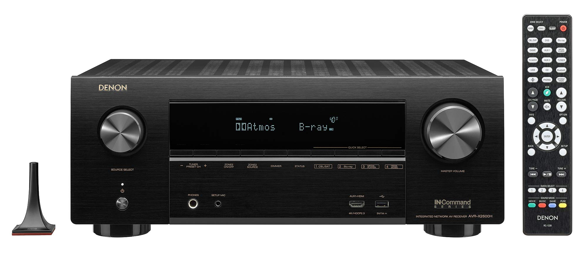 Denon AVR-X2600H 4K UHD AV Receiver | 2019 Model | 7.2 Channel, 95W Each | New Dolby Atmos Height Virtualization, Dual Subwoofer Outputs | 8 HDMI Inputs, 2 Outputs with eARC | AirPlay 2, Alexa & HEOS by Denon