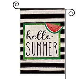 AVOIN Watercolor Stripes Hello Summer Watermelon Garden Flag Vertical Double Sized, Holiday Party Yard Outdoor Decoration 12.5 x 18 Inch
