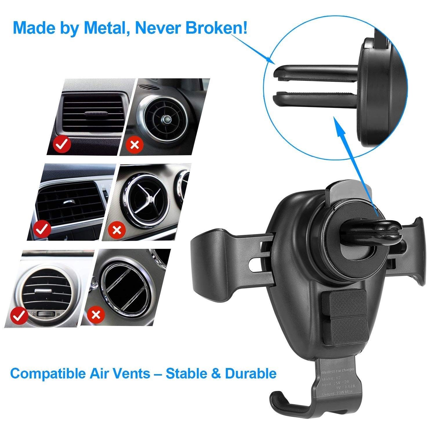 Wireless Car Charger Mount, iREIZTEC Car Holder W/ Wireless Charger Gravity Air Vent Phone Mount 10W Fast Charger for Samsung Galaxy S9 S9 S9+ S8 S8+ S7/S7 Edge Note 8 & Standard Charge iPhone X 8/8 Plus