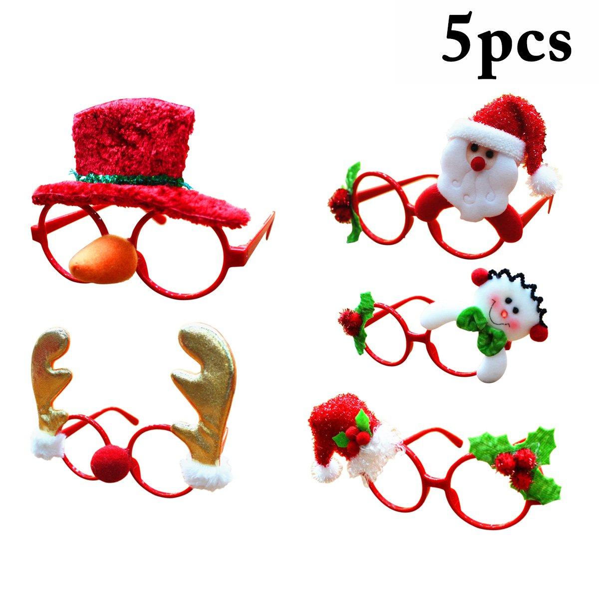 5Pcs Christmas Glasses Frame Santa Claus Deer Snowman Glasses Frame For Kids
