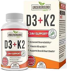Vitamin K2 (MK7) with D3 Supplement - 180 Capsules - Vitamin D & K Complex - Bone and Heart Health Formula - 5000 IU Vitamin D3 & 90 mcg Vitamin K2 MK-7