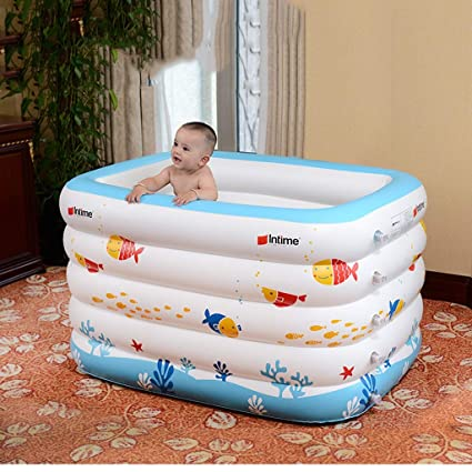 XJRHB Bebé Blanco Inflable Piscina Infantil Infantil Engrosamiento recién Nacido bañera Azul Dibujos Animados Peces