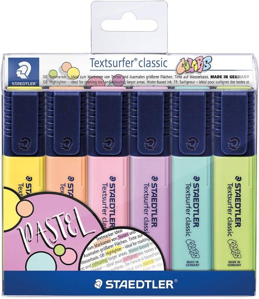 Staedtler 364 CWP6. Rotuladores fluorescentes Textsurfer. Estuche con 6 marcadores de color variados.