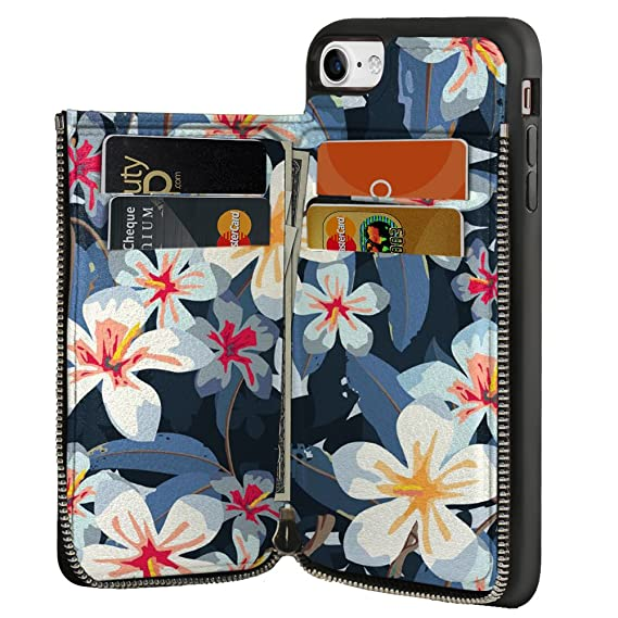 on sale 92fa6 8345f iPhone 8 Wallet Case, LAMEEKU iPhone 7 Card Holder Case Watercolor White  Flower Design Floral Zipper Wallet Leather Case with Credit Card Slots for  ...