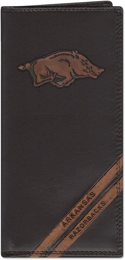 ZEP-PRO NCAA Mens Brown Pullup Leather Long Secretary Embrossed Wallet