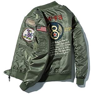 フライトジャケット 長袖 メンズ 刺繍マーク MA-1 ストリート 羽織り エムエーワン B2015B-L
