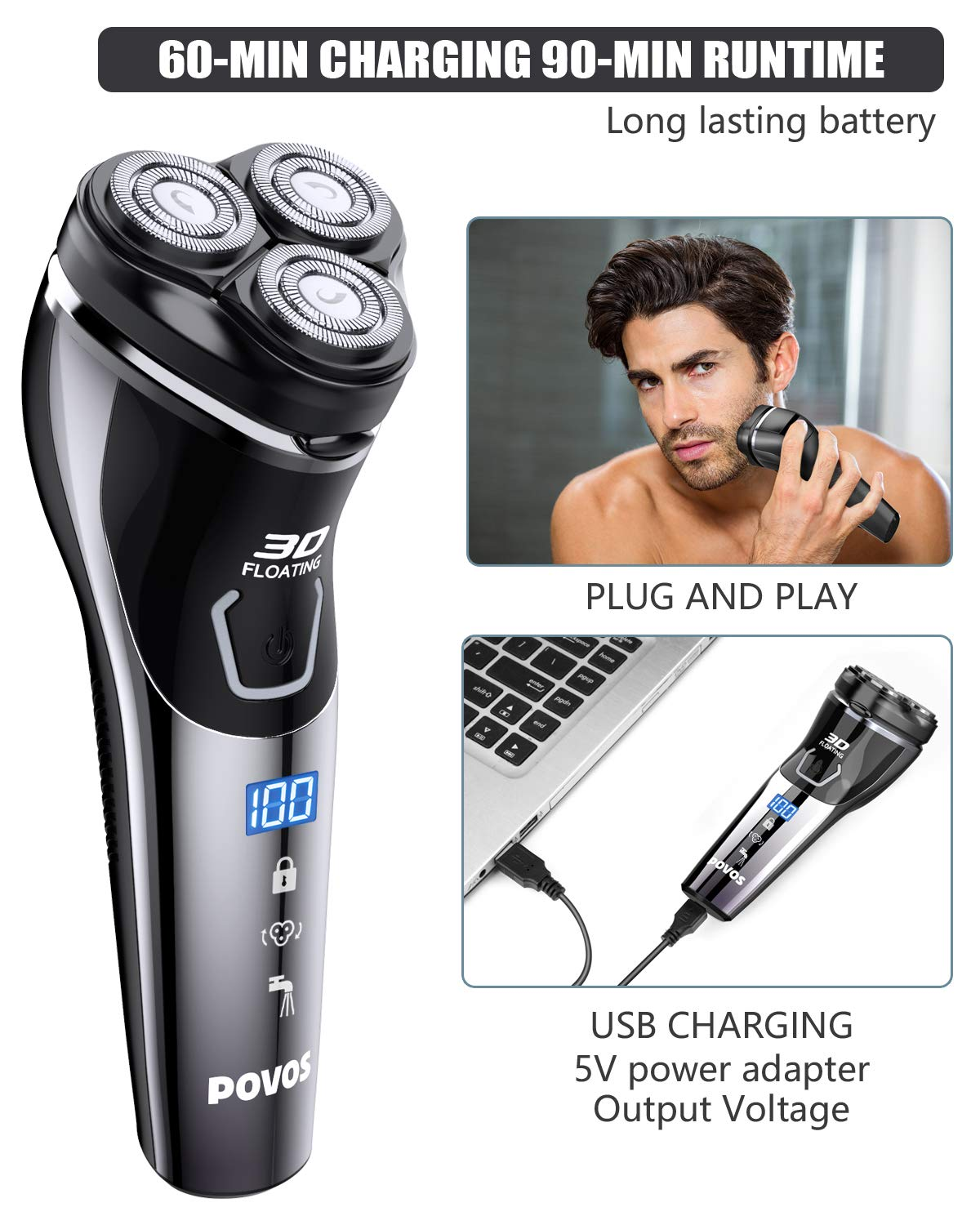 Men's 3D Rotary Shaving Razor Waterproof Electric Shaver with Pop-up Beard Trimmer