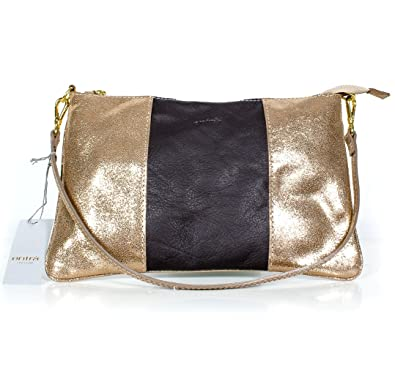 70b9a0d9c9118 entrà Edle Clutch Leder Handtasche braun-gold metallic Made in Italy ...
