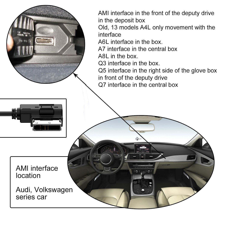 AMI MMI Interface Adapter Bluetooth 5.0 Musik Audio Media Receiver kompatibel f/ür Audi A1 A3 A4 A5 A6 A7 A8 S3 S4 S5 S6 RS6 TT S8 Q5 Q7