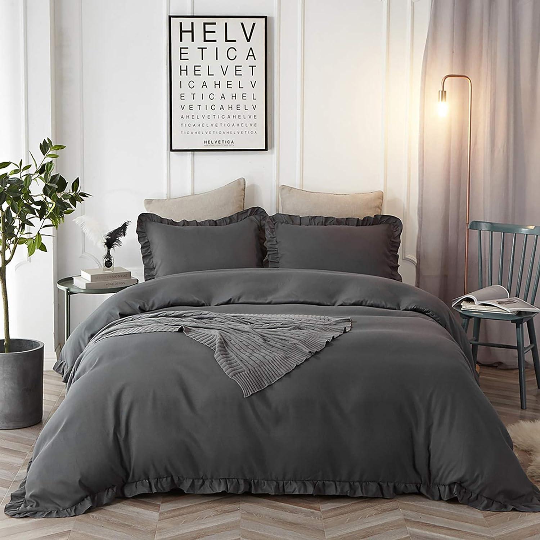 Amazon Com Hyprest King Duvet Cover Set Microfiber Soft Comfortable Durable Dark Grey Ruffled Duvet Cover Bedding Set Not Including Comforter Home Kitchen
