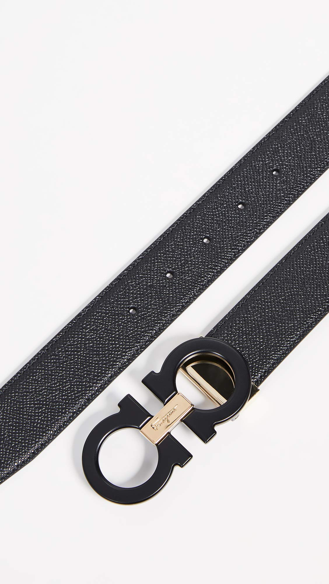 Salvatore Ferragamo Men's Double Gancini Reversible Belt, Nero Nero, Black, 38 by Salvatore Ferragamo (Image #4)