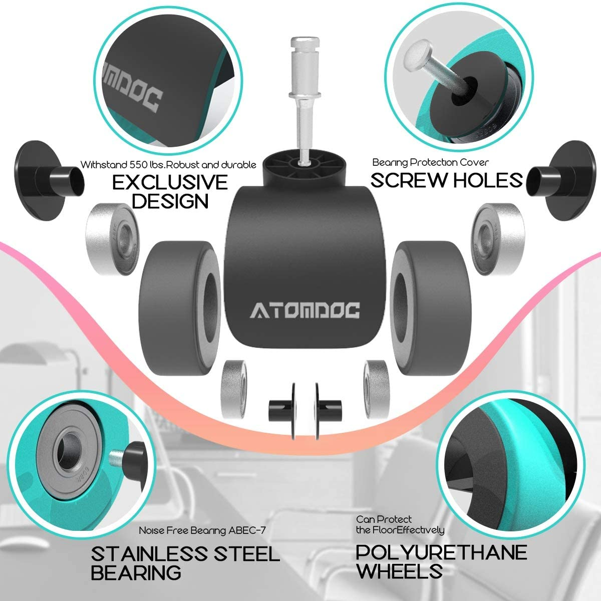 ATOMDOC Office Chair Caster Wheels, Newly Revolutionary Quadruple Ball Bearing Design,Heavy Duty & Safe Protection for All Floors Including Hardwood, Set of 5: Furniture & Decor