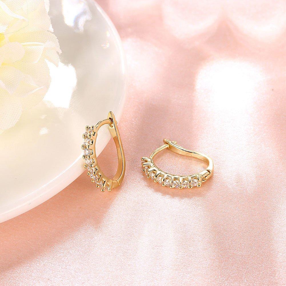 Amazon.com: Buycitky 14K Yellow Gold Plated Rhinestone Hoop Earrings ...