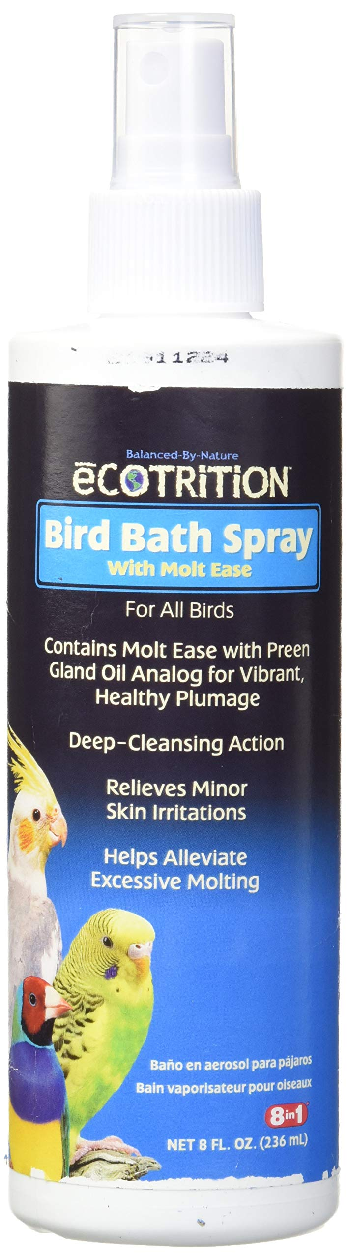 8 In 1 Pet Products BEOD141001 Ecotrition Bird Bath Spray, 8-Ounce