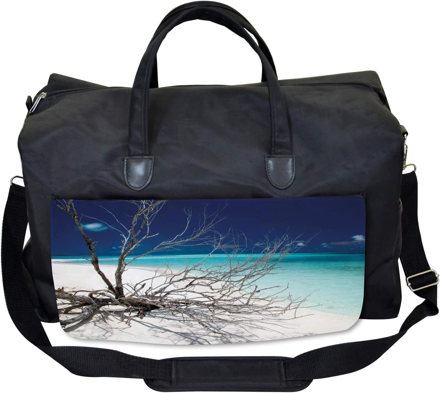 Large Weekender Carry-on Seascape Theme Driftwood Ambesonne Beach Gym Bag