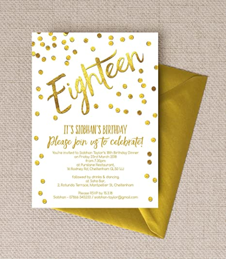 personalised gold confetti birthday invitations with envelopes pack