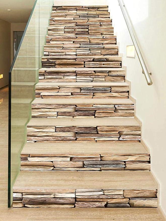 WYHK Vinilo para escalera de piedra autoadhesivas Pegatinas de escalera de vinilo extraíbles 18cm×100cm×13 piezas: Amazon.es: Bricolaje y herramientas